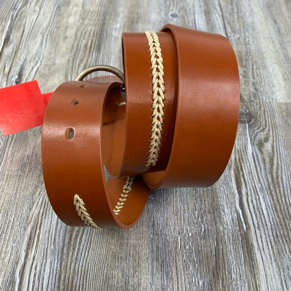 NWOT Esprit Brown Leather Belt Decorative Stitch